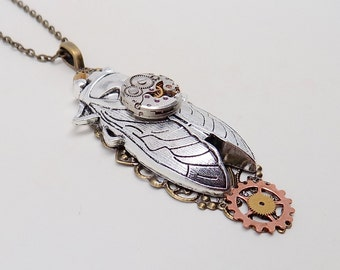 Steampunk jewelry . Steampunk large cicada necklace pendant.
