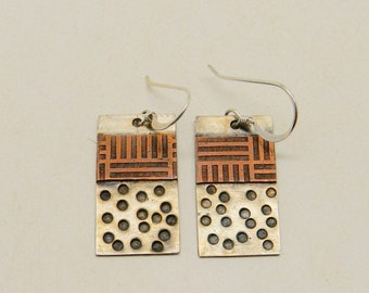 Sterling earrings. Mixed metal jewelry copper silver earrings