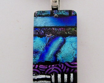 Dichroic glass pendant necklace.  dichroic jewelry.