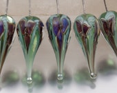 "Lampwork Glass Headpins: ""Bloom"" teardrop, in silver purple on pale green, with sterling silver wire - by Jennie Yip"