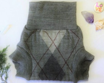 Large Upcycled Wool Soaker Diaper Cover / Lightweight Grey Argyle