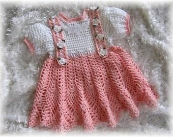 "Crochet Pattern ""Peaches and Cream"" Baby Dress"