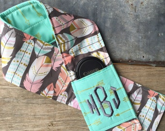 Custom Patchwork Camera Strap Cover with Monogram