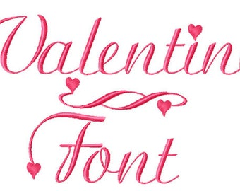 VALENTINE FONT Machine embroidery Designs