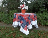 READY to SHIP Ruffled Tablecloth Red White Blue Americana July 4 Patriotic Party Decor Country Western Wedding Table Settings 76 x 76