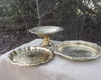 3 Vintage Brass Trays Brass Cake Stand Brass Serving Trays Buffet Server Wedding Decorations Table Decor French Countr Barware  Set of 3