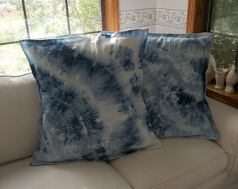 Pair Custom Indigo Tie Dyed Pillows Shibori LINEN Pillows Custom Customized Indigo Linen Pillows Boho Tie Dyed Pillow Covers Set of 2
