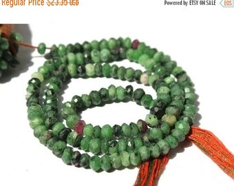 55% Sale 14 Inches Genuine AAA Ruby Zoisite Micro Faceted Rondelles Size 3.5 - 4mm Approx