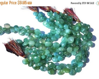 55% OFF SALE 1/2 Strand - Mystic Aqua Chalcedony Faceted Heart Briolettes Size 10 - 11mm approx Fine Quality With Wholesale price