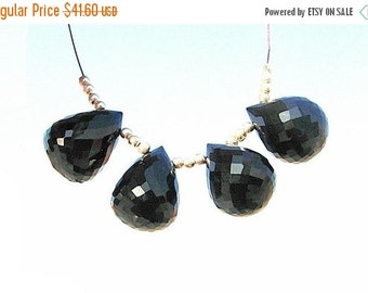 55% OFF SALE 4Pcs 2 Match Pair Natural AAA Black Spinel Faceted Tear Drop Briolettes Size 16x12mm super fine cutting and polishing