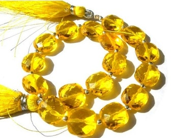 50% Off Valentine day Full 8 inches - Outrageous AAA Yellow Quartz Faceted Cushion Briolettes Size 10x10mm approx
