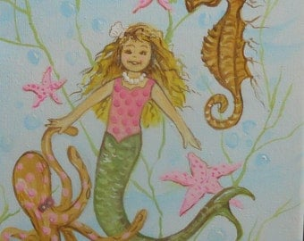 Mermaid Painting on Stretched Canvas