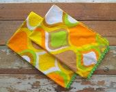 Retro Pillowcase Set - Orange, Green, White Onion Design - Crochet Trim