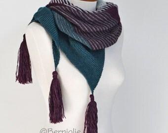 Lace knitted shawl, plum, grey, green shawl,  P442