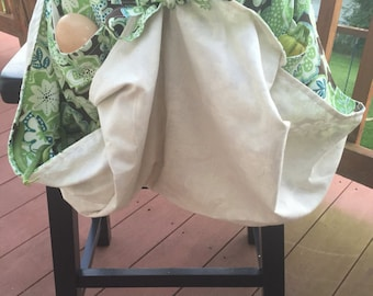 Green flower garden apron