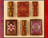 Beads Bollywood Squares & Spacers w/Crystals Red Purple Orange ~ 2 Hole Sliders QTY 6