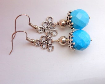 Turquoise  Earrings, Blue Earrings, Gemstone Earrings