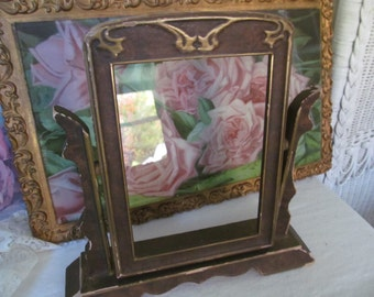 Swing Art Deco Wood Picture Frame with Raised Gold Carving 5 x 7 photo - Vintage Cottage chic