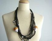 Black multi strand neckalce, long necklace