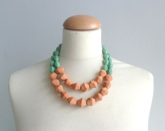 Orange green statement necklace, chunky necklace double strand