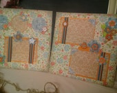 Adorable Premade scrapbook pages, 12 x 12 Vintage Floral, set of 2 layouts
