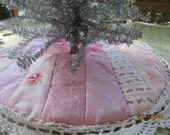 Babies44 Shabby and Chic 3   Small Tree Skirts  Pink and White  Cottons  16-18 Inches in Diameter  Strip Quilted and Lined