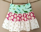 shortees teetu twirly skirt : dinos daisies & dots - available in infant and big girl sizes