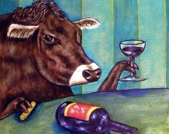 ON SALE Cow at the Wine Bar Animal Art Tile Coaster