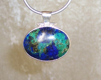 Azurite/Malachite - Hinged Pendant in Stone and  Sterling Silver