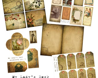 Digital Vintage Journal Accessory Kit - My Lady's Desk - Perfect for journals, cards, mixed media, scrapbooking (5 digital pages)