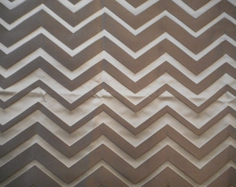 Off White and Tan Chevron Satiny Feel Upholstery Fabric  2 yards