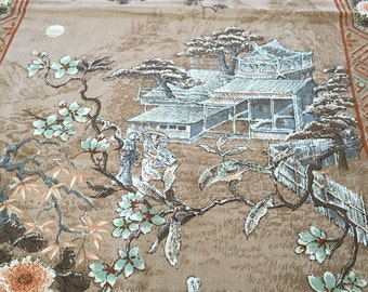 Upholstery fabric with Japanese scenes