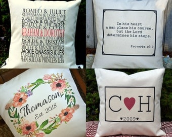 16x16 personalized name pillow, Not Quite perfect .....personalized family print pillow