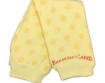Organic Baby Leg Warmers Yellow Peace Signs