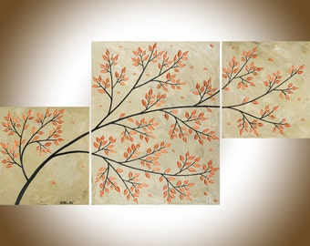"""Colorful art Copper tree  art abstract art  set of 3 wall art acrylic landscape painting home decor canvas art """"Autumn Breeze"""" by QIQIGALLER"""