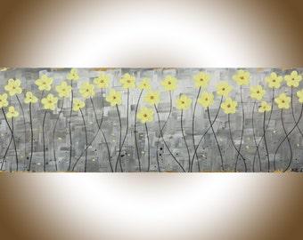 "Yellow grey art Original abstract painting yellow flower acrylic painting modern art canvas art home decor wall art ""Sunshine 2""by qiqi"