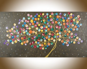 Colorful abstract painting whimsical art swirl tree painting large wall art wall decor Impasto canvas art
