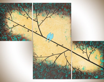 """Contemporary wall art set of 3 painting green yellow blue brown acrylic Painting Love Birds and Dragonflies """"Evening Show"""" by QIQIGALLERY"""