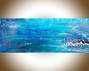 """Blue abstract art Extra Large wall art 70""""seascape painting on canvas home decor wall decor """"Ocean Blue"""" by QiQiGallery"""