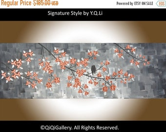 """Wall art abstract painting wall decor home decor Metallic silver Impasto palette knife Love Birds """"Tomorrow Will Be Better"""" by qiqigallery"""