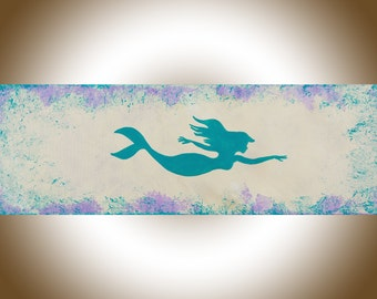 """24""""Mermaid art turquoise blue purple painting mermaid wall art wall decor mermaid painting canvas art shabby chic gift for her nursery decor"""
