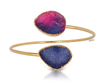 Druzy stone bangle, purple stone bangle, purple druzy, bangle cuff, 18k gold dipped, purple druzy gemstones, purple crystals, EZZA