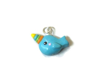 Colorful Horn Narwhal Pendant, Polymer Clay Jewelry