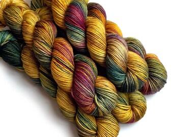 Worsted Handdyed Merino Cashmere Nylon Yarn - Indian Corn, 200 yards