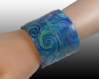 Polymer Clay on aluminum cuff bracelet, blues and greens abstract design, adjustable, statement, ooak