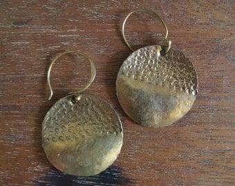 Vintage Hammered Brass Discs Earrings