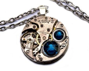 Steampunk Necklace - Beautiful Vintage Clockwork Pendant with Dark Montana Blue Swarovski Crystals PROMPTLY SHIPPED - Steampunk Jewelry
