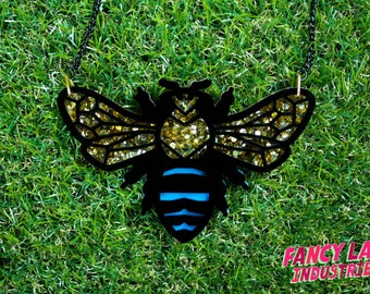 Blue Banded Bee Necklace, Gold Glitter, Native Australian Bee, Laser Cut Necklace, Laser Cut Jewellery