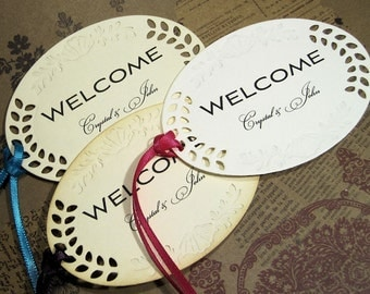 Personalized tags - Large Welcome Tags -  Set of 10 - Embossed - Romantic -   Wedding - Cut outs - Hang Tags