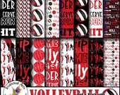 Volleyball Red and Black and White Digital Paper - 18 jpg files of volleyball and volleyball word patterns {Instant Download}